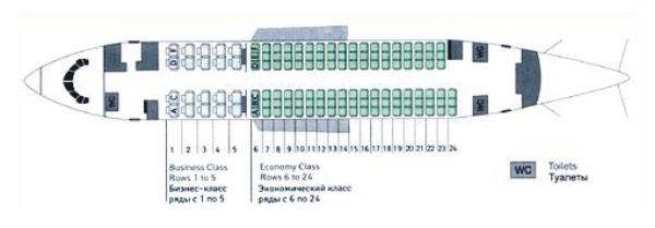 Схема салона Боинга 737-500