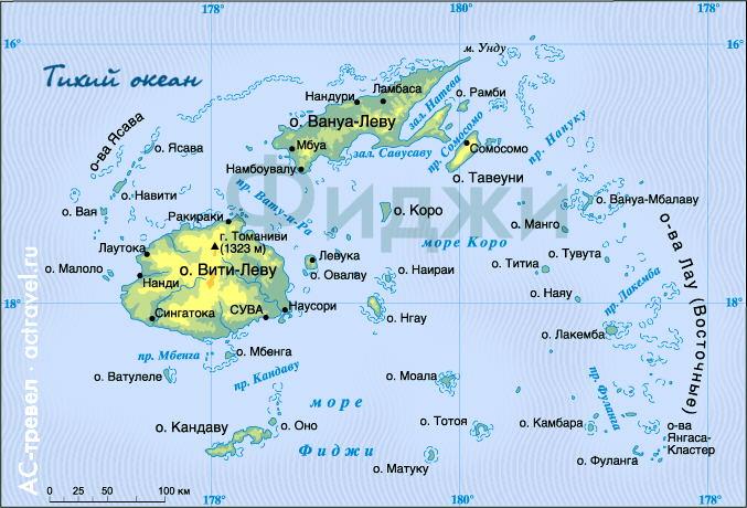 Карта Фиджи. Щелкните для