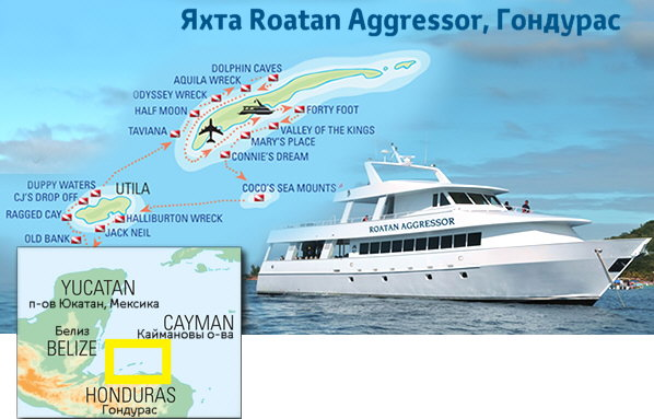 Маршруты сафари Roatan Aggressor