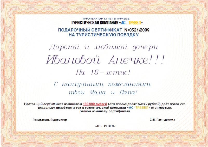 Виды сертификатов на подарок