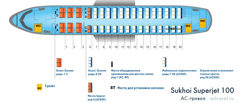 Схема салона сухой суперджет 100 аэрофлот. Лучшие места в самолете.